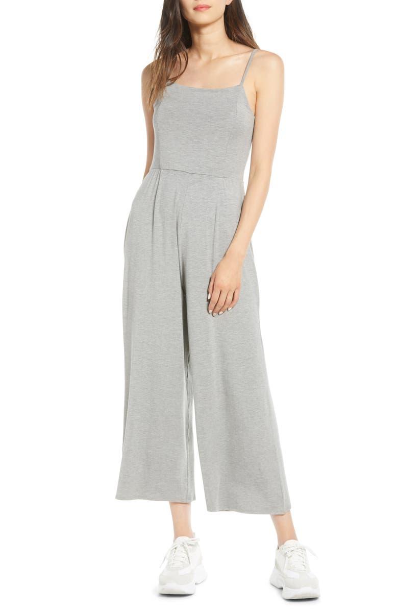 NOISY MAY Rawa Jersey Crop Jumpsuit, Main, color, LIGHT GREY MELANGE