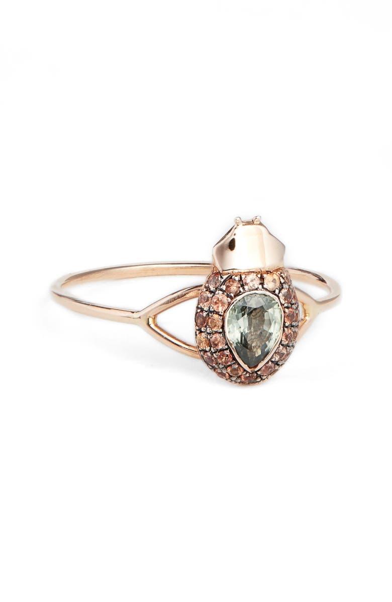 DANIELA VILLEGAS Maat Sapphire Ring, Main, color, ROSE GOLD