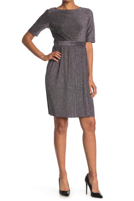 Image of Sandra Darren Elbow Sleeve Metallic Knit Fit and Flare Dress
