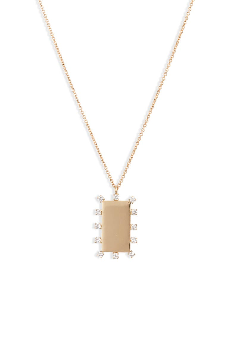 BONY LEVY Kiera Scattered Diamond Dog Tag Pendant Necklace, Main, color, YELLOW GOLD/ DIAMOND