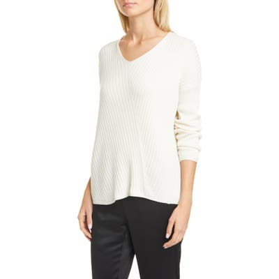 Eileen Fisher Ribbed V-Neck Top, White