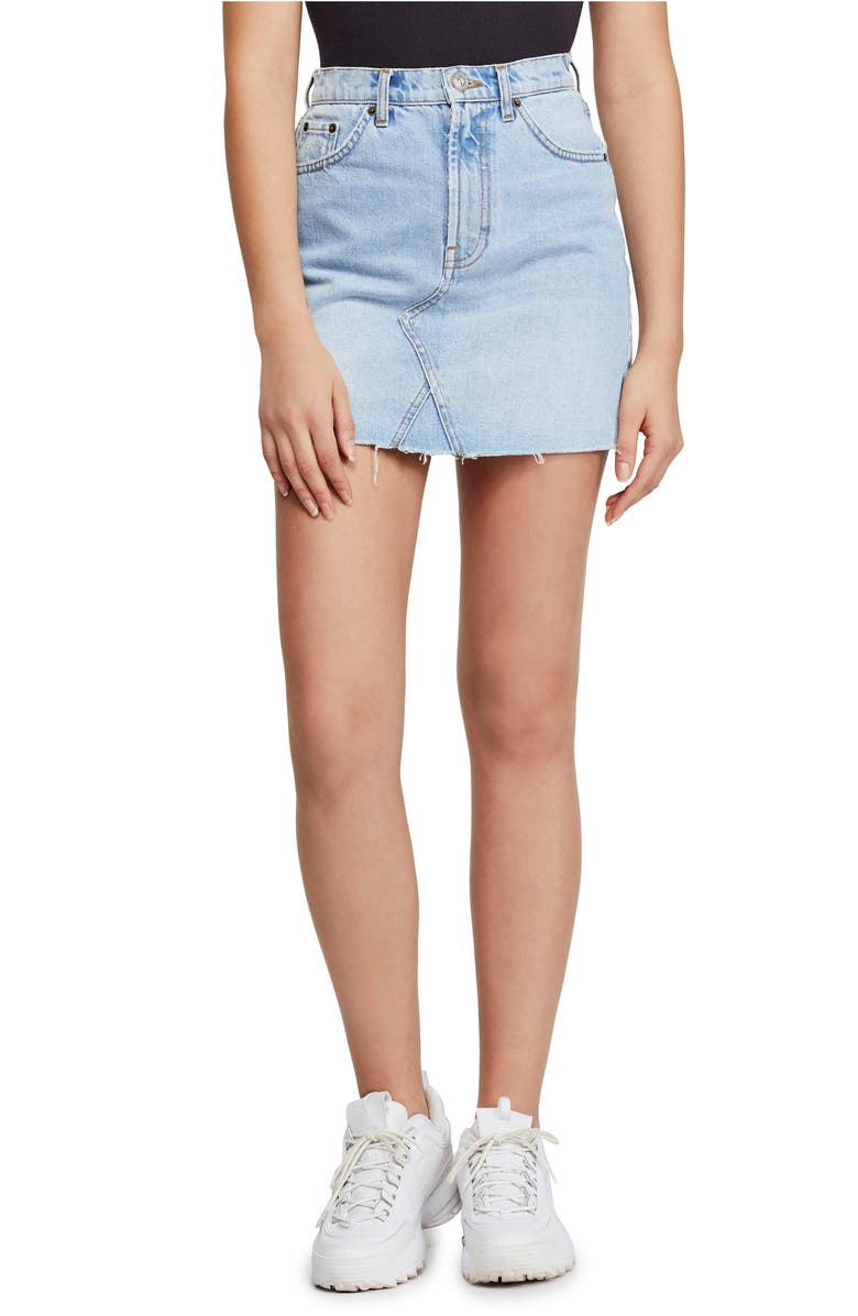 BDG Urban Outfitters Austin Cutoff Denim Miniskirt, Main, color, BLEACH