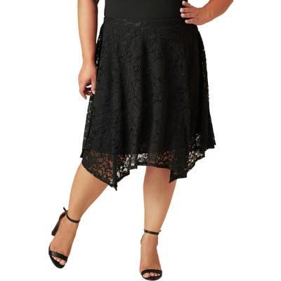 Plus Size Maree Pour Toi Lace Skirt, Black