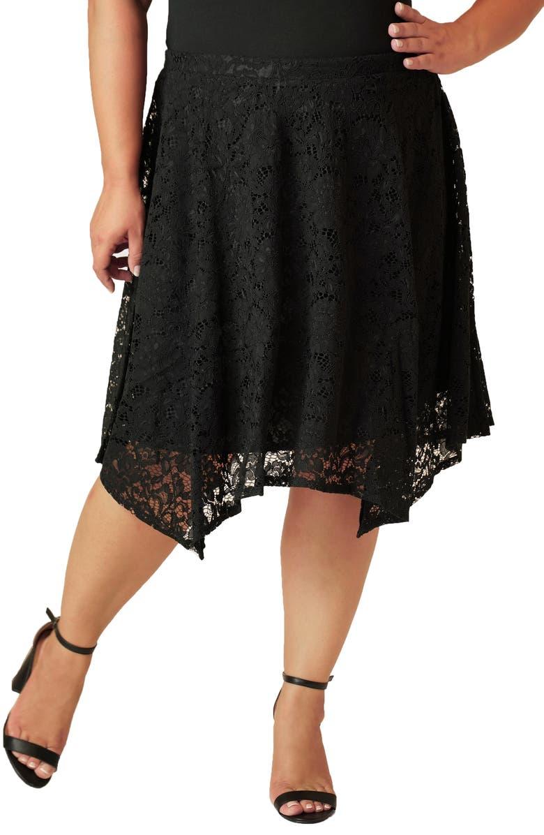 MARÉE POUR TOI Lace Skirt, Main, color, BLACK