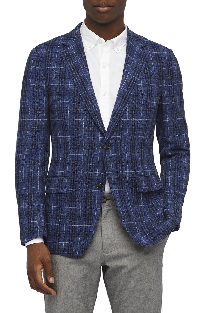 BONOBOS Slim Fit Unconstructed Plaid Sport Coat, Main, color, 400