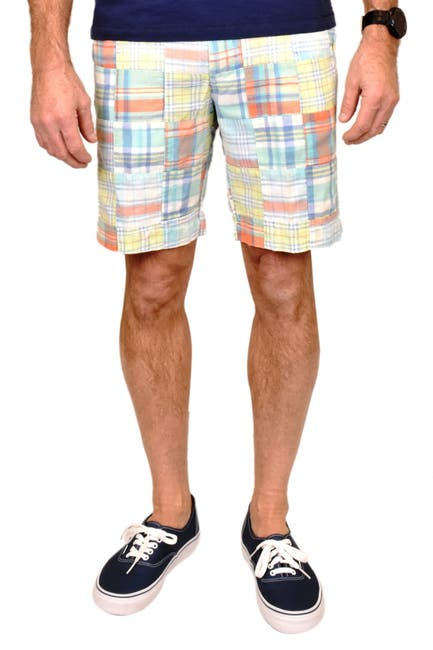 Image of Vintage 1946 Patch Madras Print Flat Front Shorts