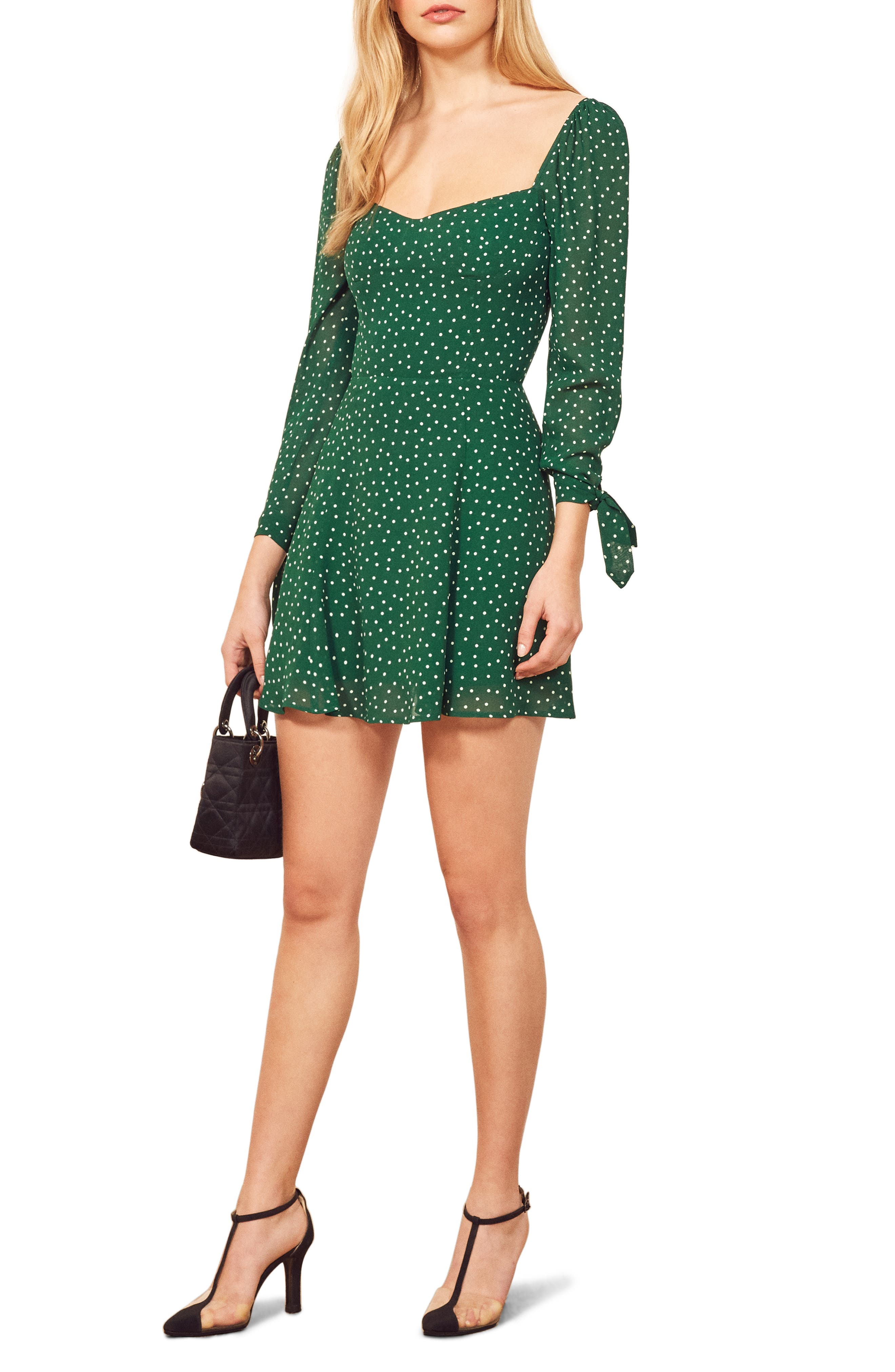 Reformation Beatrice Fit & Flare Dress, Green