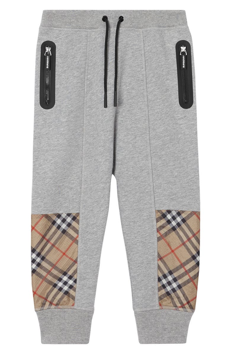 BURBERRY Hamilton Check Patch Sweatpants, Main, color, GREY MELANGE