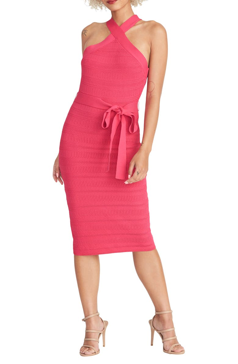 RACHEL RACHEL ROY Halter Neck Tie Waist Sweater Dress, Main, color, PASSION PINK