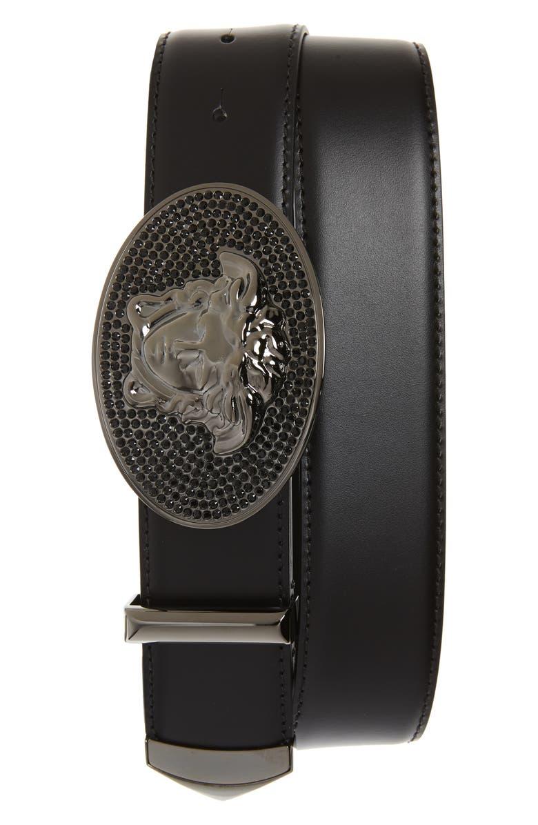 VERSACE Embellished Medusa Buckle Leather Belt, Main, color, BLACK