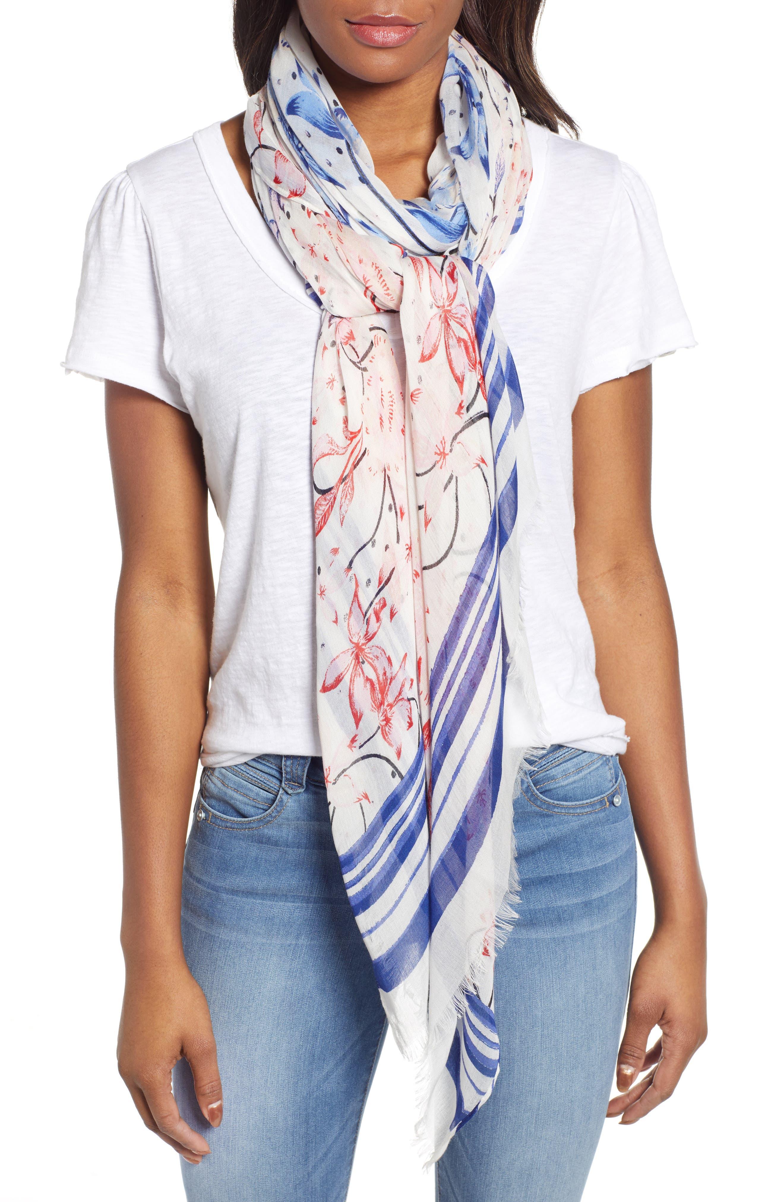Print Modal & Silk Scarf, Main, color, BLUE BLOOM BURST