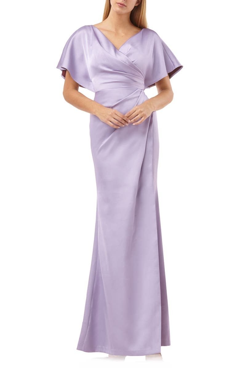 Faux Wrap Bonded Satin Gown by Js Collections