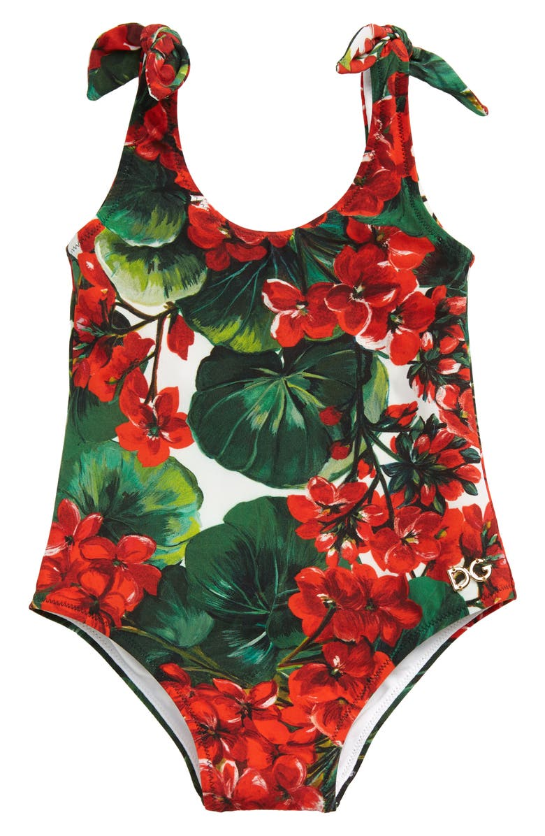 DOLCE&GABBANA Floral Print One-Piece Swimsuit, Main, color, GREEN PRINT