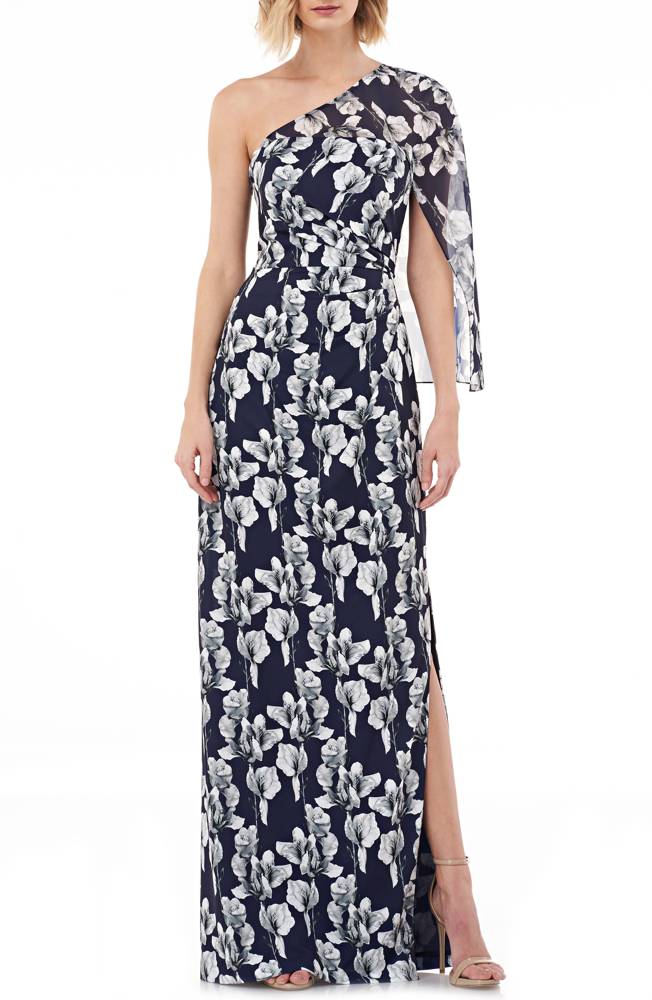 Kay Unger One-Shoulder Capelet Gown, Blue