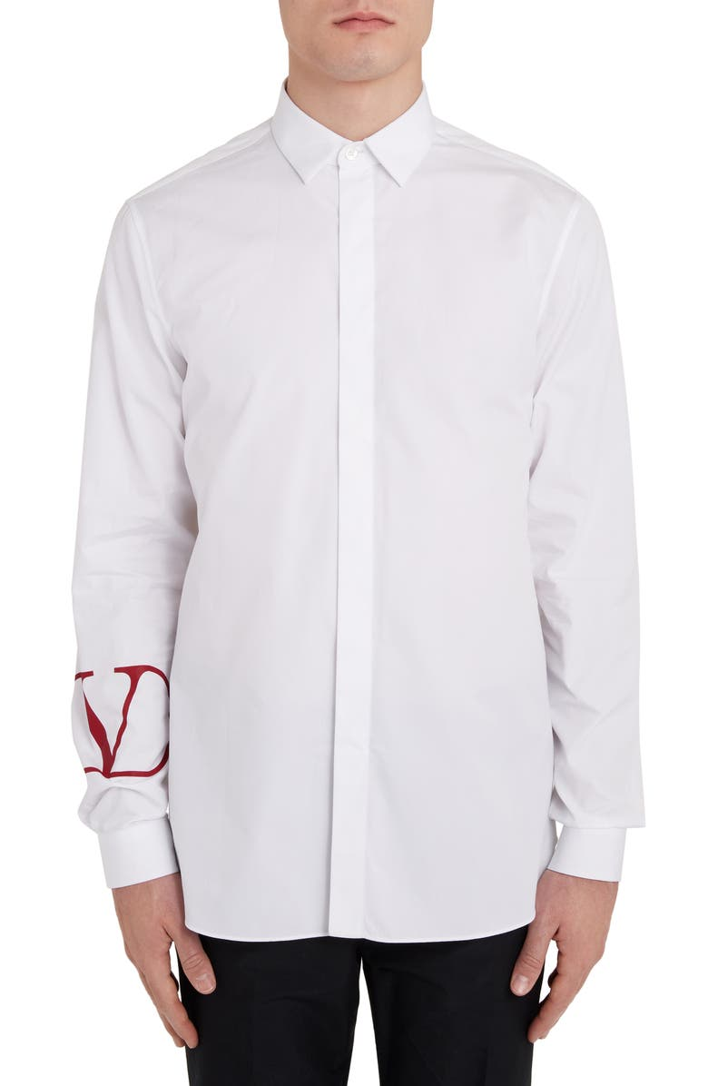VALENTINO Logo Graphic Slim Fit Shirt, Main, color, WHITE/ RED