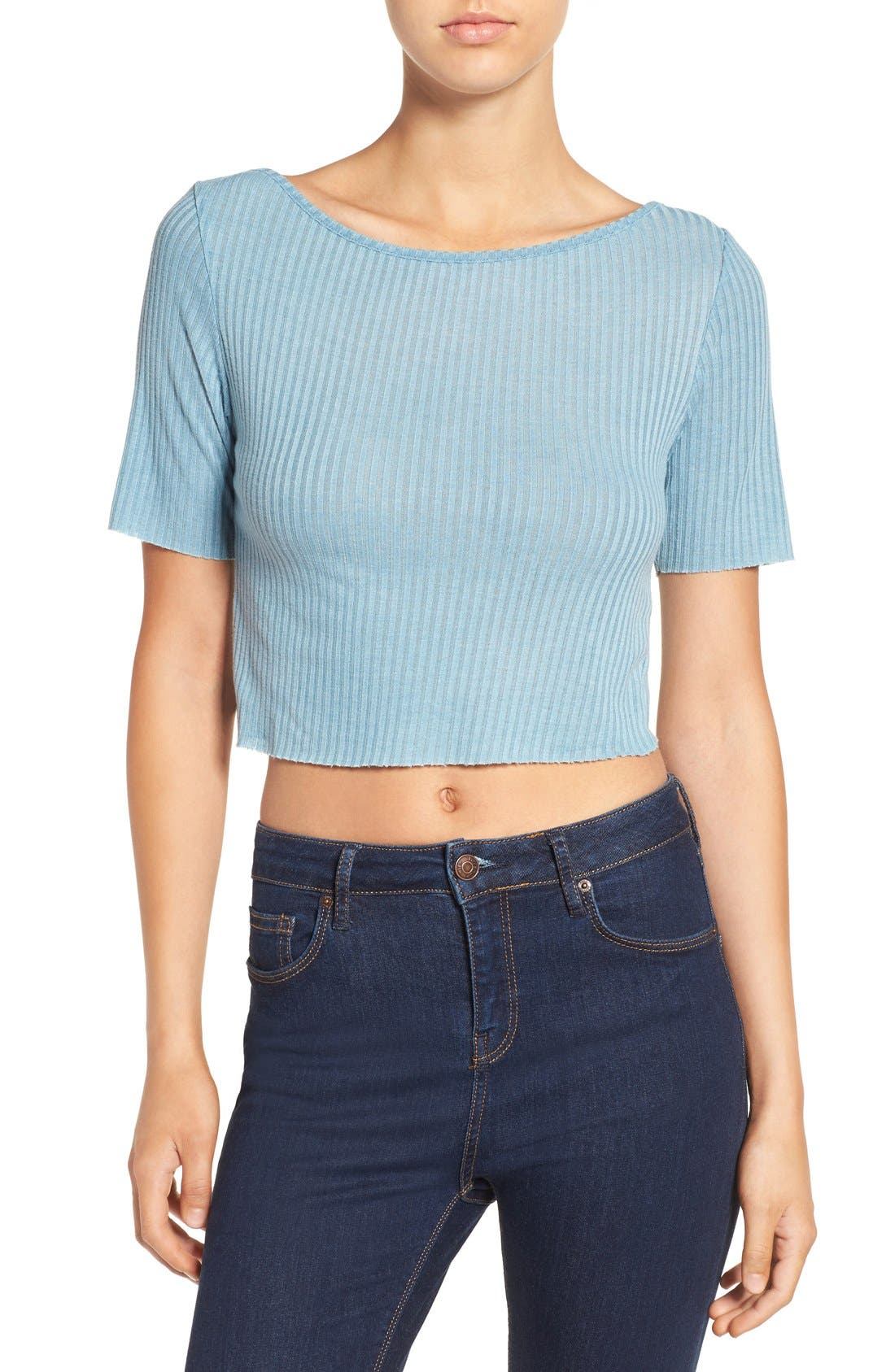 ,                             Raw Edge Crop Tee,                             Main thumbnail 23, color,                             400