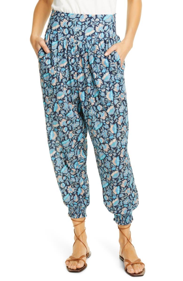 LA VIE REBECCA TAYLOR Bette Fleur Metallic Thread Pants, Main, color, MIDNIGHT NAVY COMBO