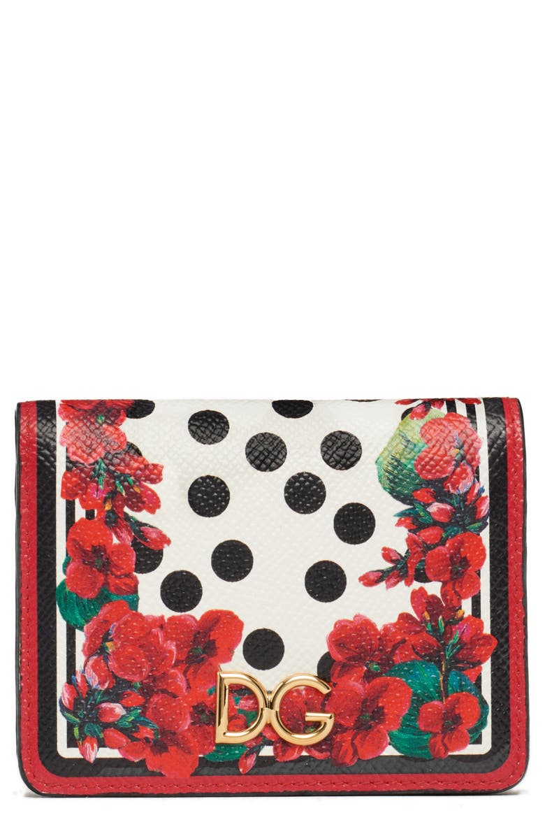 Small Geranium Print Leather Wallet by Dolce&Gabbana