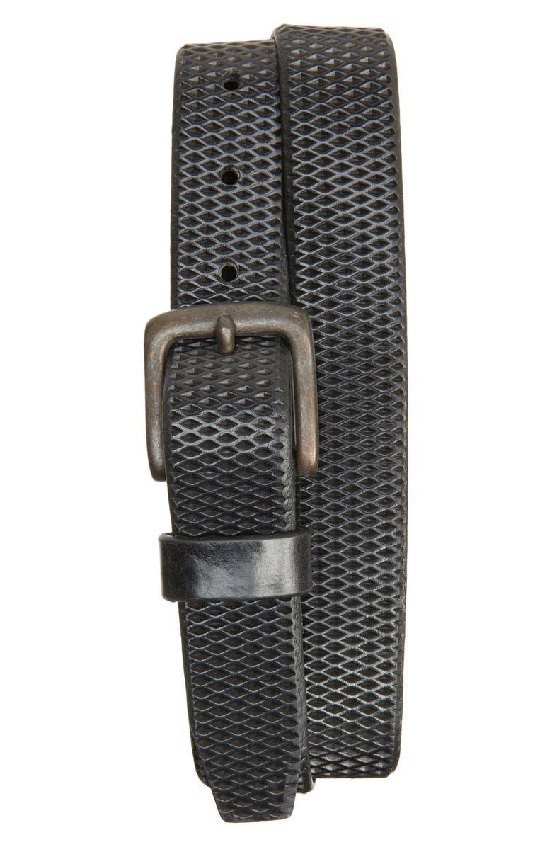 REMO TULLIANI Laser Cut Leather Belt, Main, color, 001