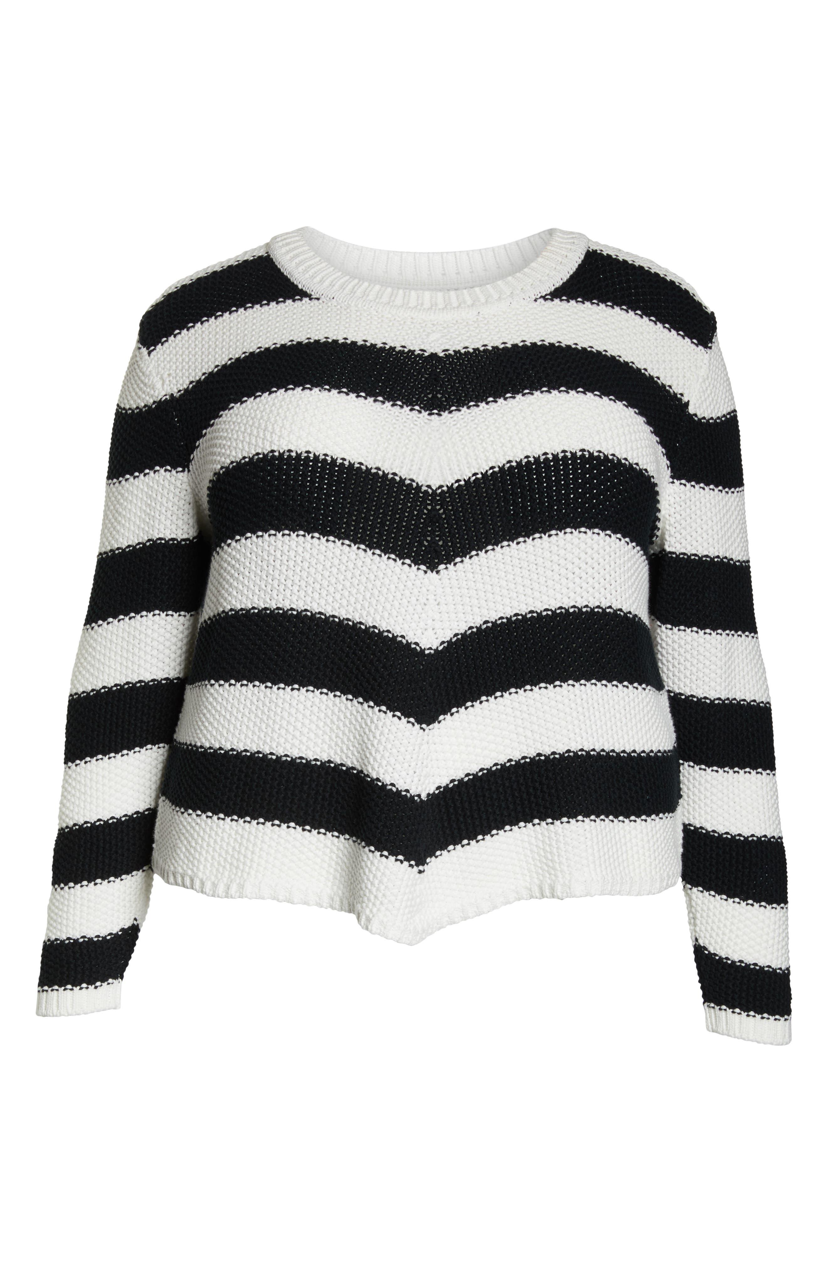 ,                             Stitch Stripe Sweater,                             Alternate thumbnail 6, color,                             001