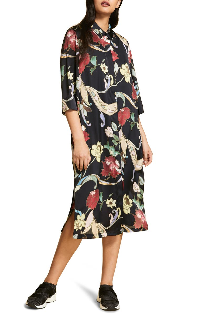 MARINA RINALDI Definire Print Satin Dress, Main, color, BLACK