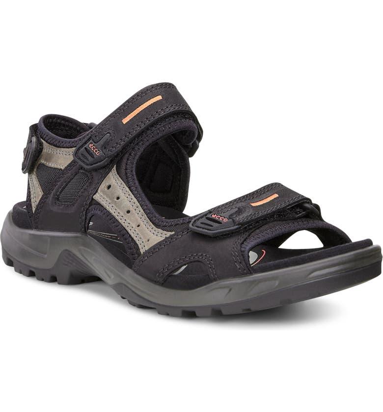 ECCO 'Yucatan' Sandal, Main, color, BLACK/ MOLE/ BLACK