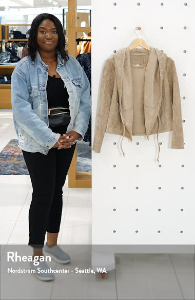 Faux Suede Drawstring Hooded Jacket, sales video thumbnail