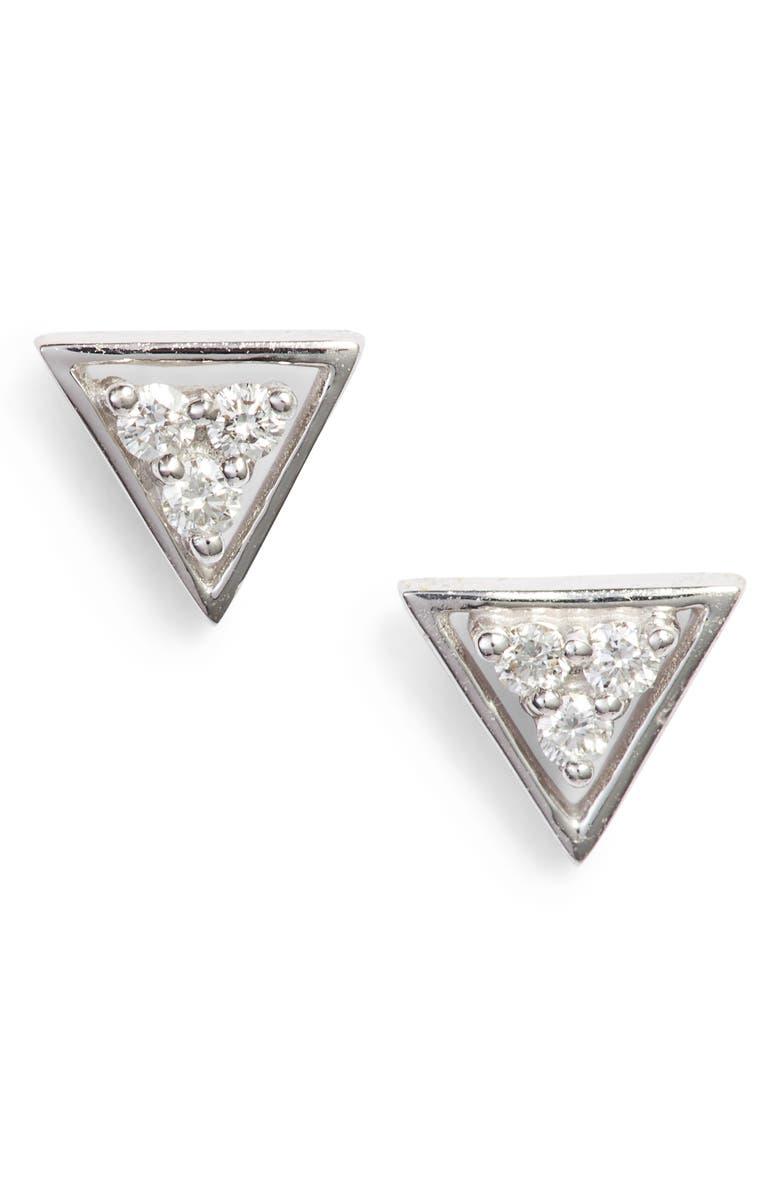 DANA REBECCA DESIGNS Ivy Diamond Triangle Stud Earrings, Main, color, WHITE GOLD/ PEARL