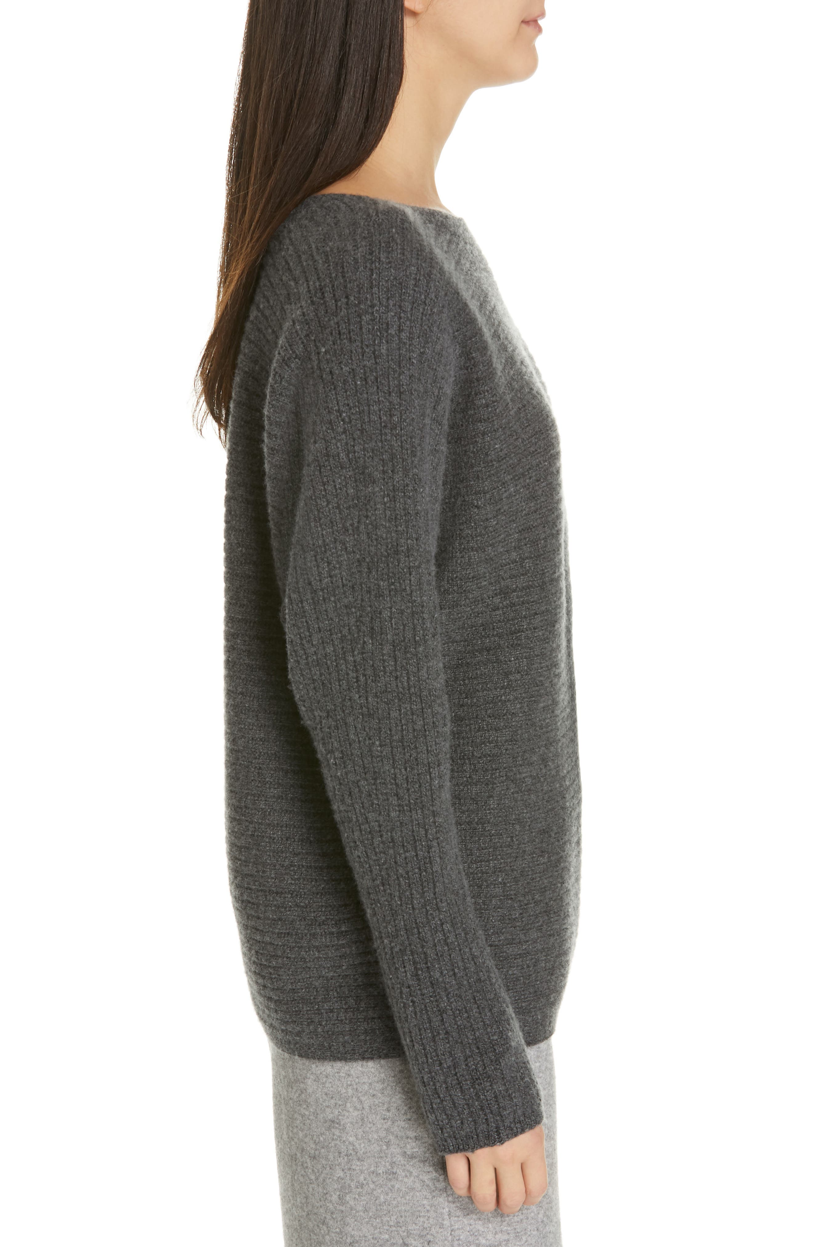 ,                             Horizontal Ribbed Sweater,                             Alternate thumbnail 3, color,                             HEATHER PEWTER