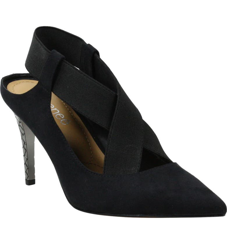J. RENEÉ Eliora Slingback Pointed Toe Pump, Main, color, BLACK FABRIC