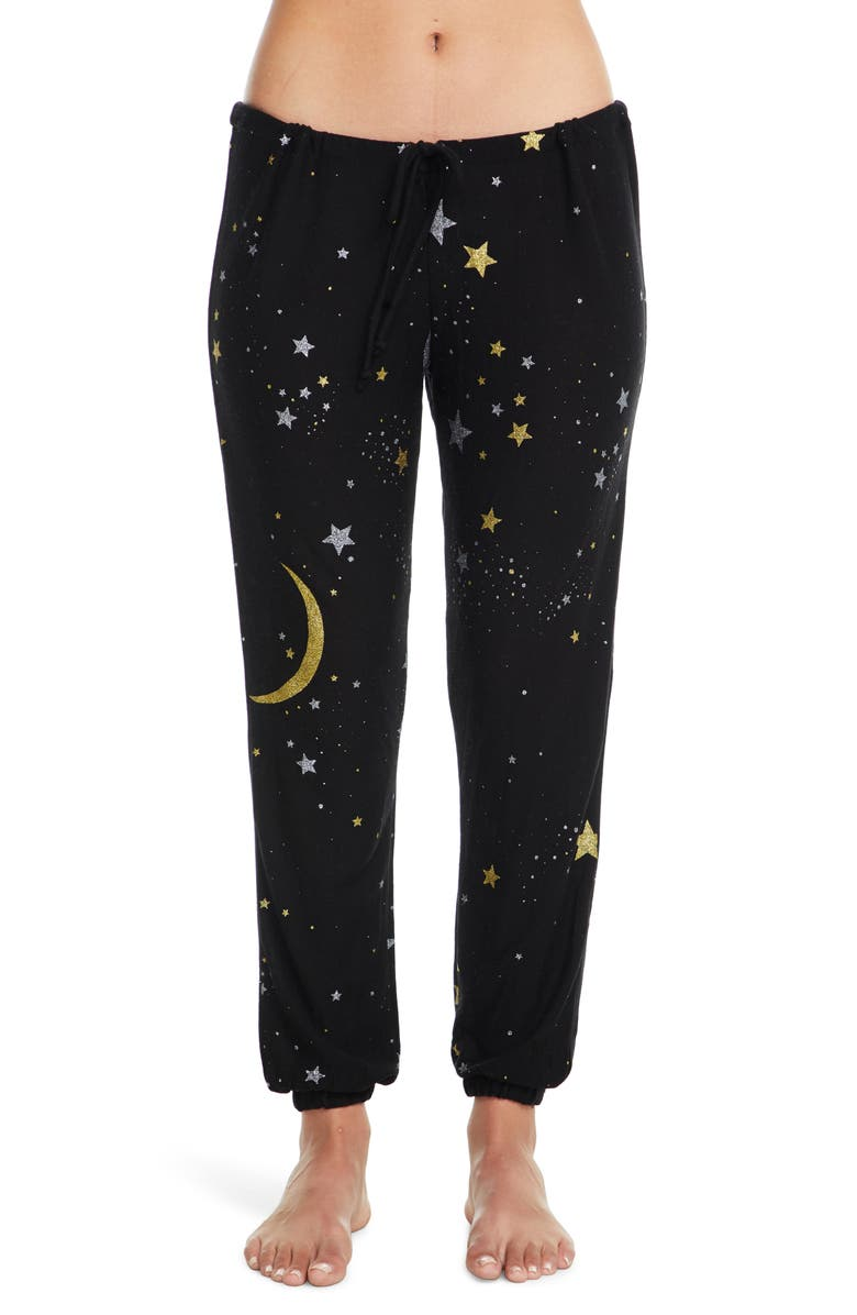 CHASER Cozy Moon & Star Jogger Pants, Main, color, TRUE BLACK