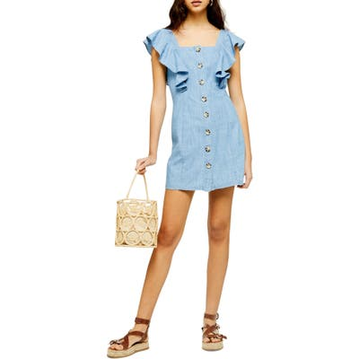 Topshop Button Front Ruffle Sleeve Minidress, US (fits like 2-4) - Blue