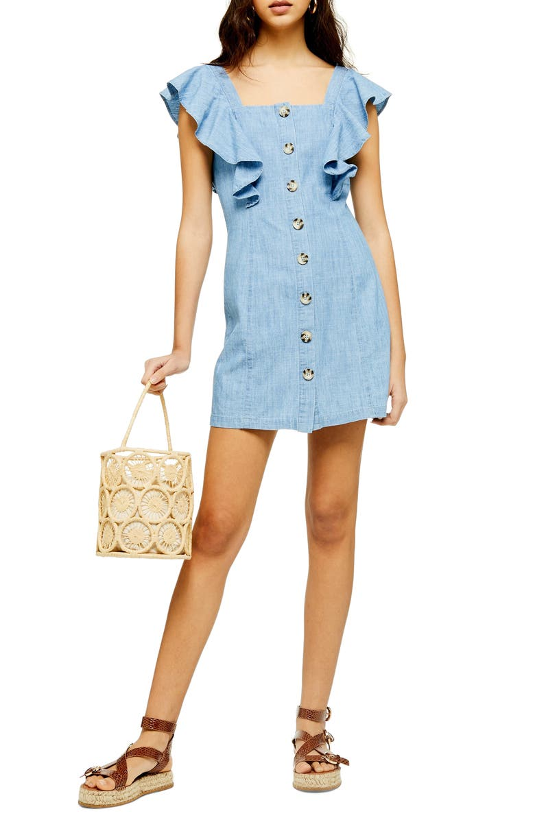 TOPSHOP Button Front Ruffle Sleeve Minidress, Main, color, MID DENIM