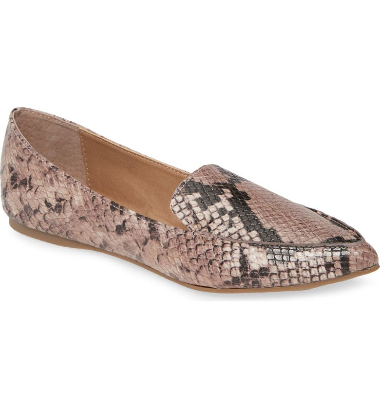 STEVE MADDEN Feather Loafer Flat, Main, color, BLUSH SNAKE PRINT