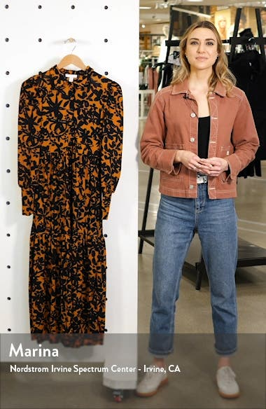 Floral Print Long Sleeve Maxi Shirtdress, sales video thumbnail