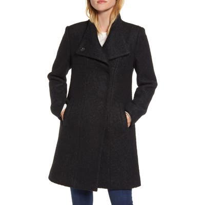 Kenneth Cole New York Wool Blend Boucle Coat, Black
