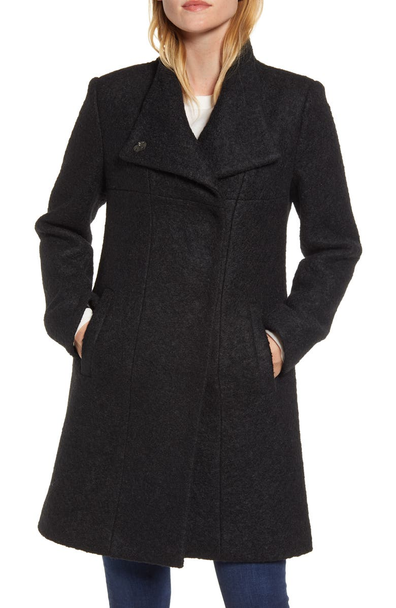 KENNETH COLE NEW YORK Wool Blend Bouclé Coat, Main, color, BLACK