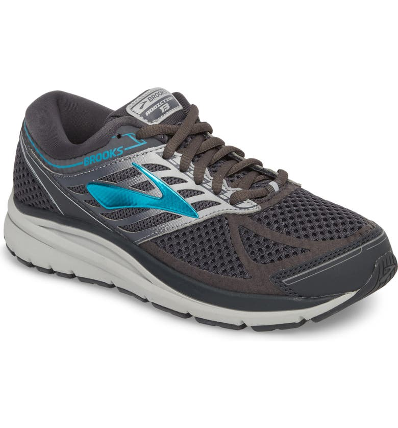 BROOKS Addiction 13 Running Shoe, Main, color, EBONY/ SILVER/ PAGODA BLUE