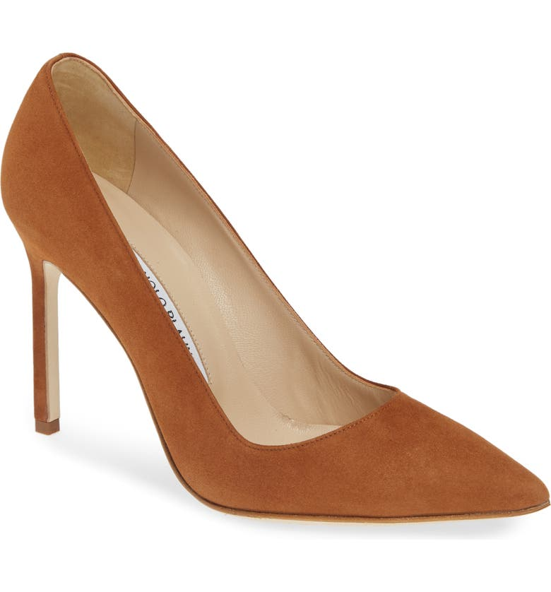 MANOLO BLAHNIK 'BB' Pointy Toe Pump, Main, color, DEEP TAN SUEDE