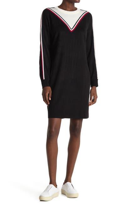 Image of Tommy Hilfiger Chevron Long Sleeve Sweater Dress