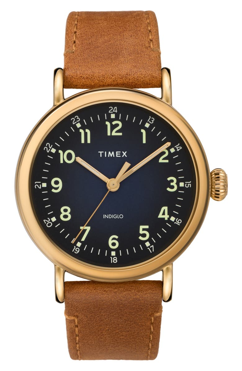 TIMEX<SUP>®</SUP> Standard Leather Strap Watch, 40mm, Main, color, TAN/ BLUE/ GOLD