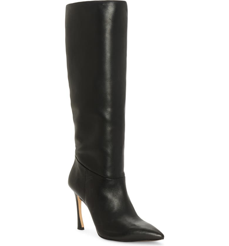 LOUISE ET CIE Tamarix Knee High Boot, Main, color, BLACK LEATHER