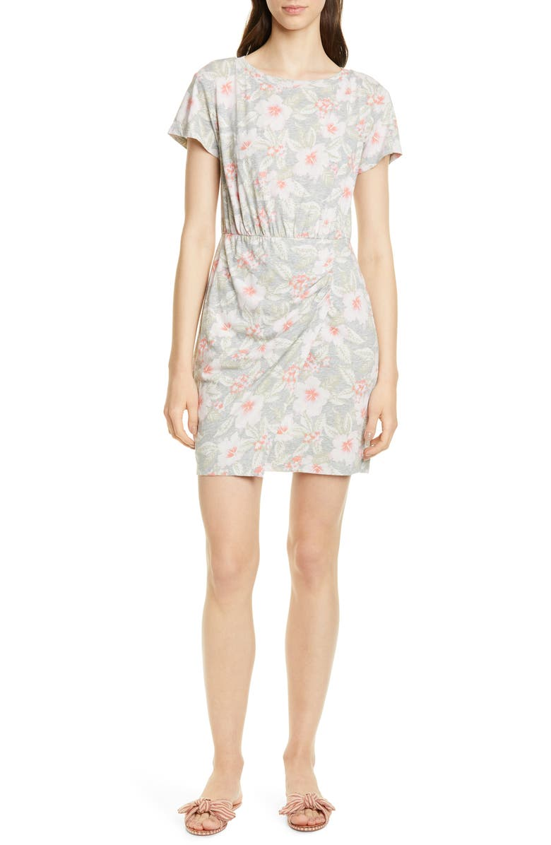REBECCA TAYLOR Kamea Ruched Detail Cotton Jersey Dress, Main, color, GREY MELANGE