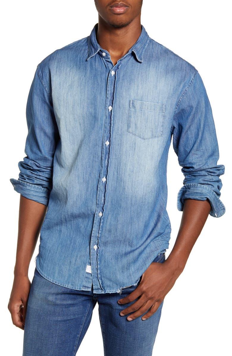 FRANK & EILEEN Luke Regular Fit Distressed Button-Up Sport Shirt, Main, color, DISTRESSED VINTAGE WASH