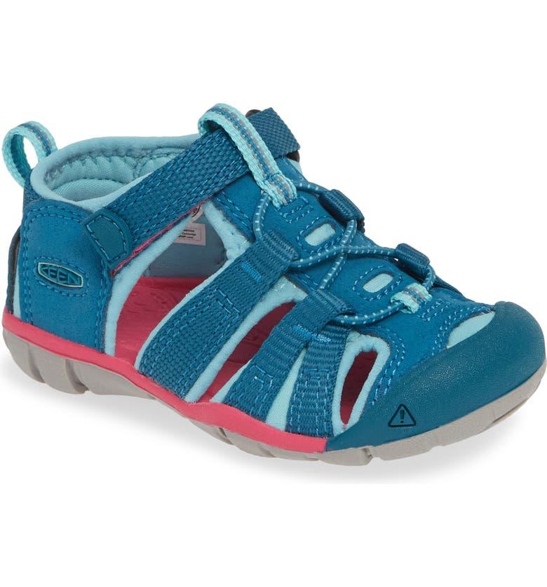 KEEN 'Seacamp II' Water Friendly Sandal, Main, color, DEEP LAGOON/ BRIGHT PINK