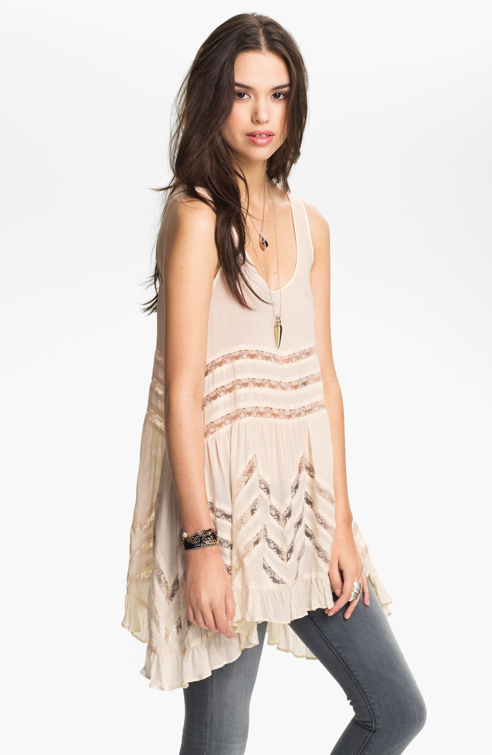 856b58fe8e3f Free People Swingy Lace Inset Tunic | Nordstrom