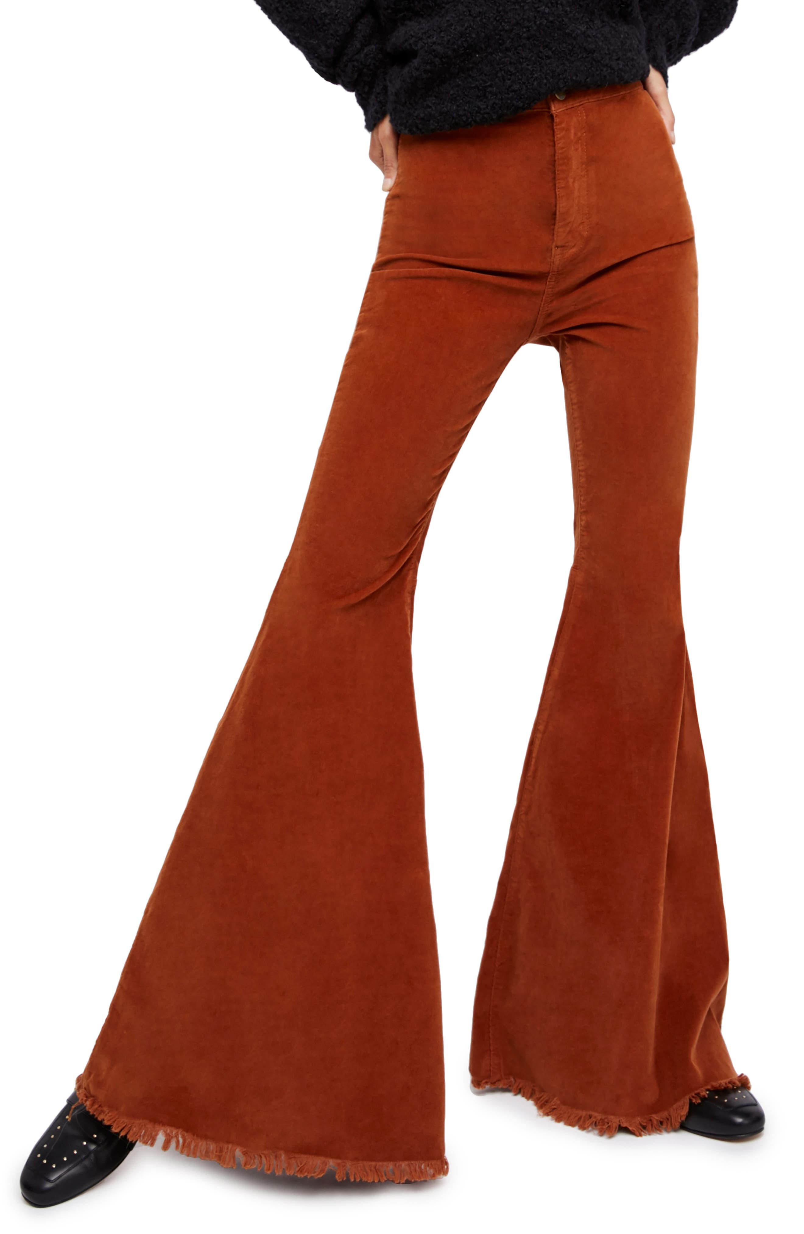 Vintage High Waisted Trousers, Sailor Pants, Jeans Womens Free People Just Float Corduroy Flare Pants $78.00 AT vintagedancer.com