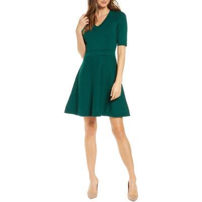Eliza J Pointelle Fit & Flare Sweater Dress, Green