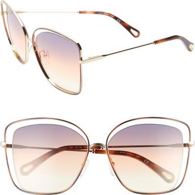 Chloe 60Mm Halo Frame Sunglasses - Havana/ Grey Yellow