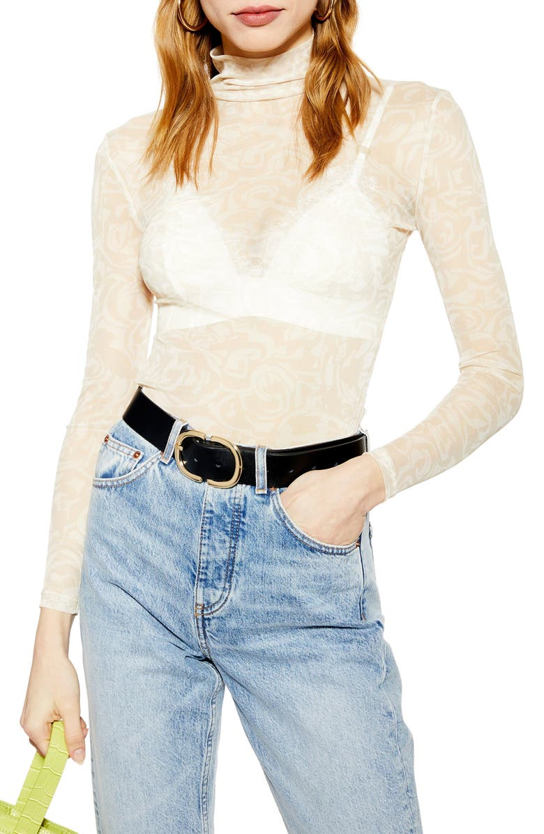 TOPSHOP Abstract Swirl Funnel Neck Top, Main, color, 900